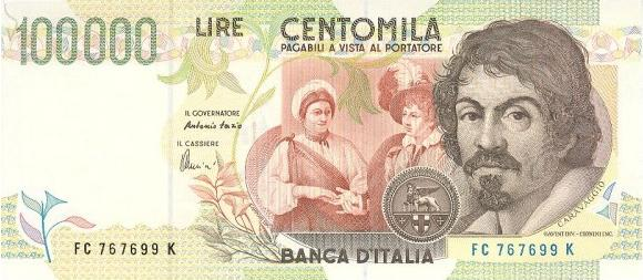 banconote-italiane-biglietti-di-banca-100000-lire-caravaggio-centomila lire
